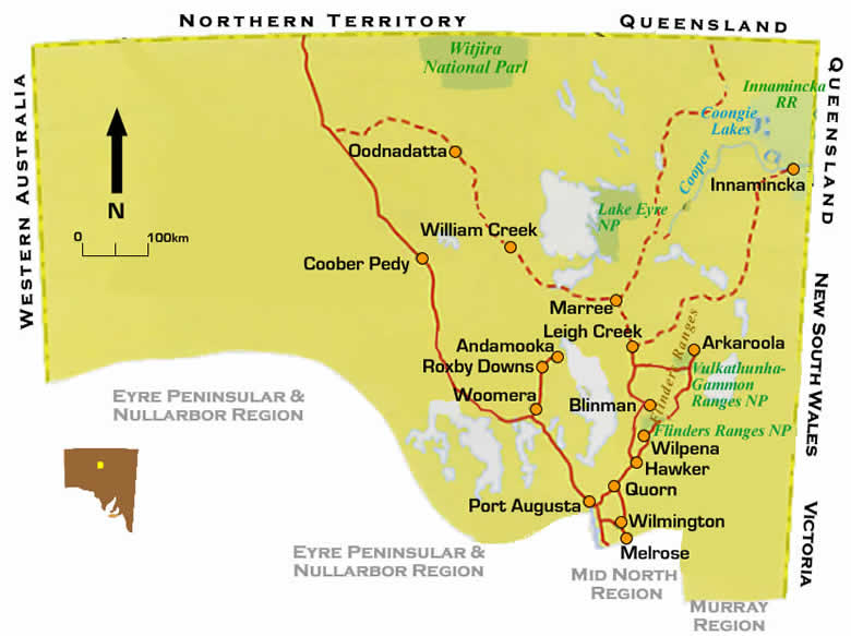 Map of Flinders Ranges