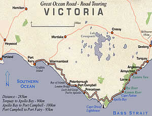 Great Ocean Road Road Map Victoria Australia