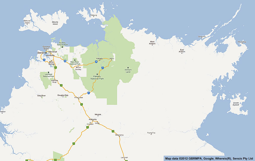 arnhem land and kakadu road maps