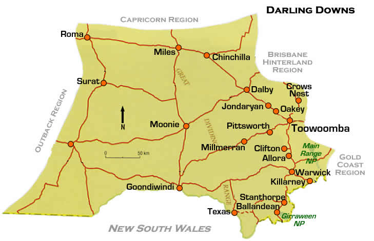 Road Map Darling Downs Region South West Queensland
