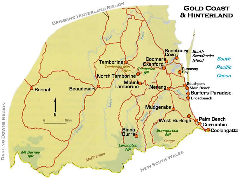 Australia Map Gold Coast.Gold Coast Road Region Map