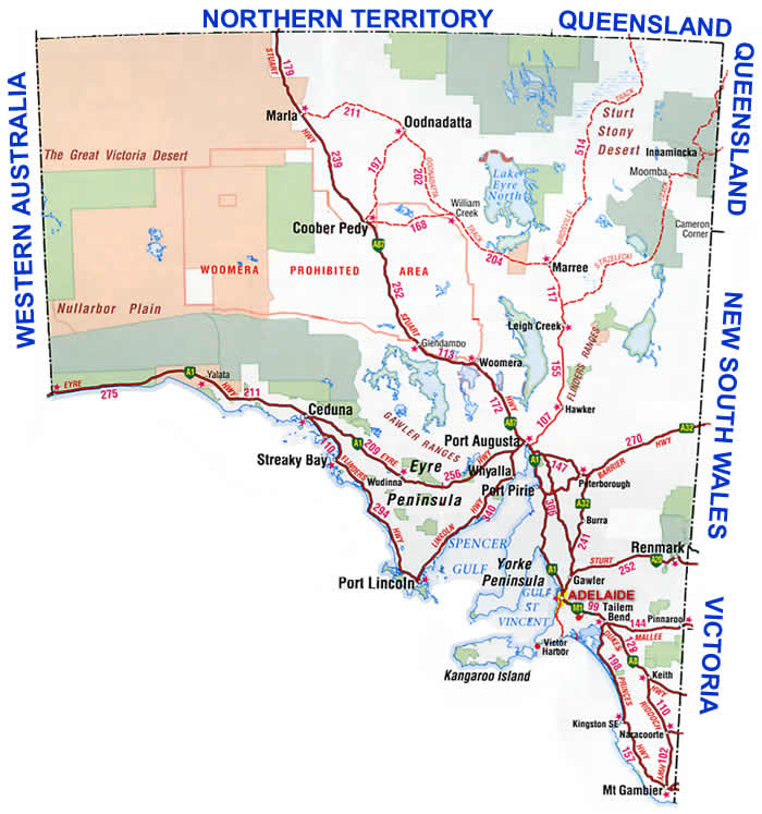 Road Map Australia.South Australia Road Map
