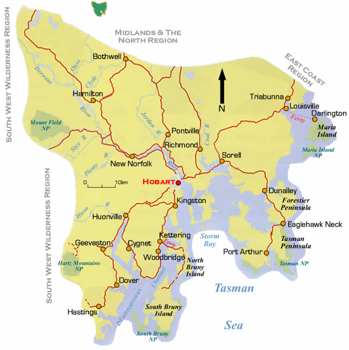 South East Tasmania Region & Road Maps