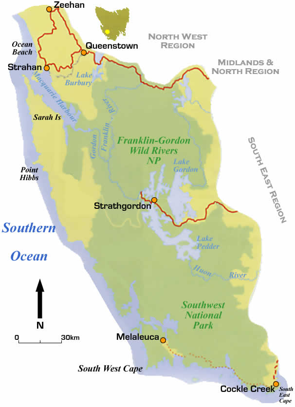 south west tasmania road maps