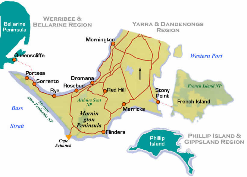 Road Maps and Region Map of Mornington Peninsula Region of Victoria