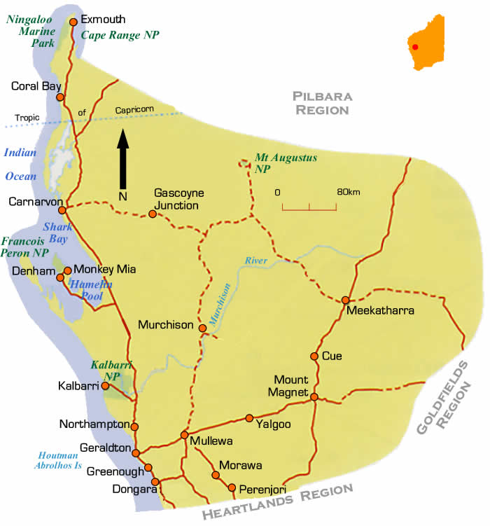 Western Australian Native Plants: WA Outback Coast Region Road Maps Western Australia