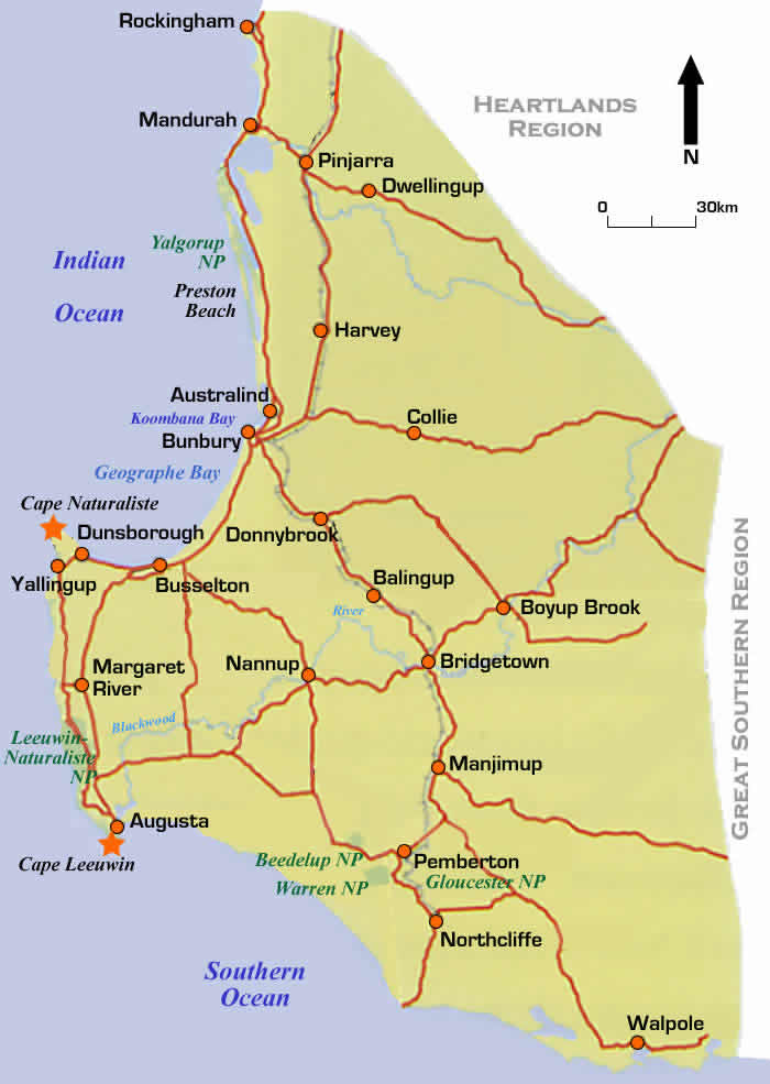 Road Map Of Famous Wine Region Of Margaret River Western
