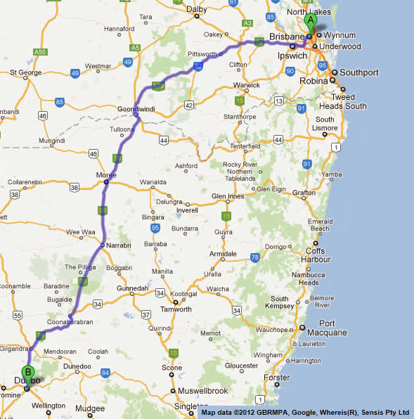 Road Maps Brisbane to Melbourne Road Map 1