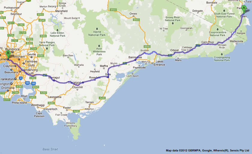 eden to melbourne road map