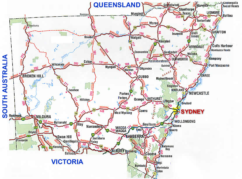 Road Map Of Australia.New South Wales Road Map Nsw
