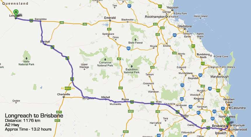 longreach to brisbane road map qld