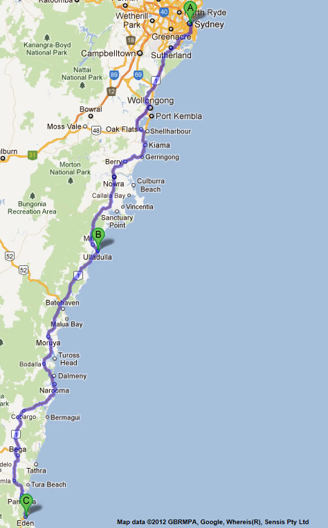 Road Maps Melbourne to Sydney Nsw - Eden to Melbourne Road