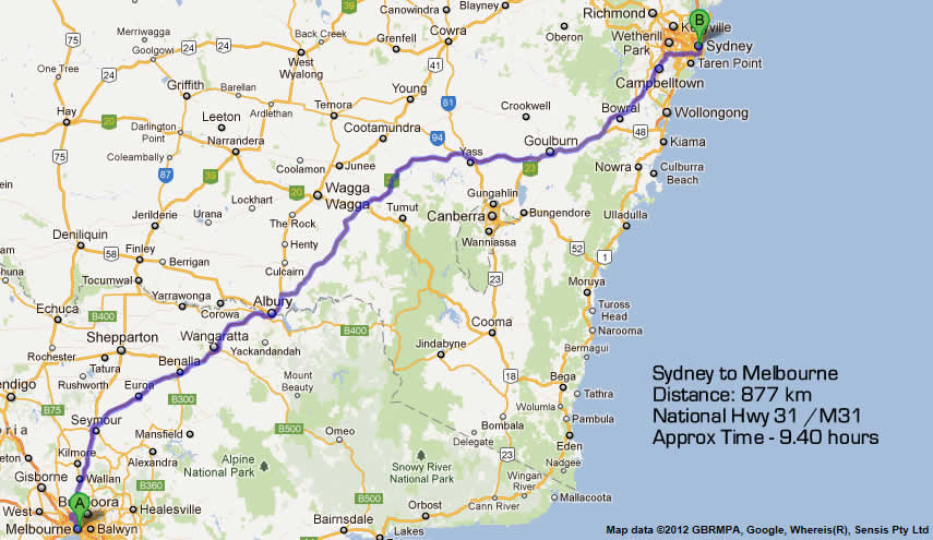 Map Of Nsw And Victoria Australia.Road Maps Sydney To Melbourne Road Map 1