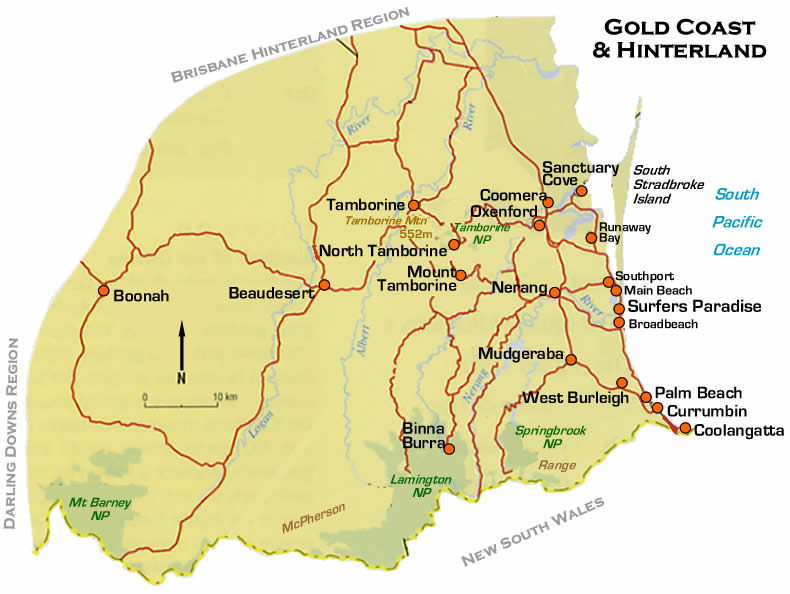 Gold Coast Road Map Queensland Australia – Gold Coast Australia Map
