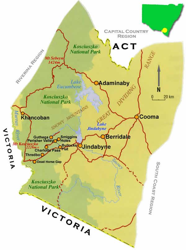snowy mountains australia map Snowy Mountains Road Maps Nsw