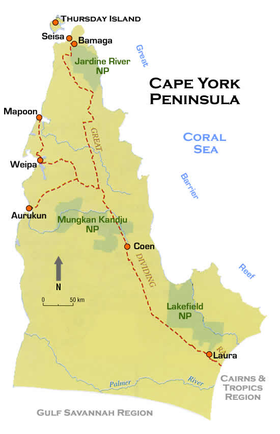 Cape York Map Cape York Peninsula Road Map Qld Cape York Map